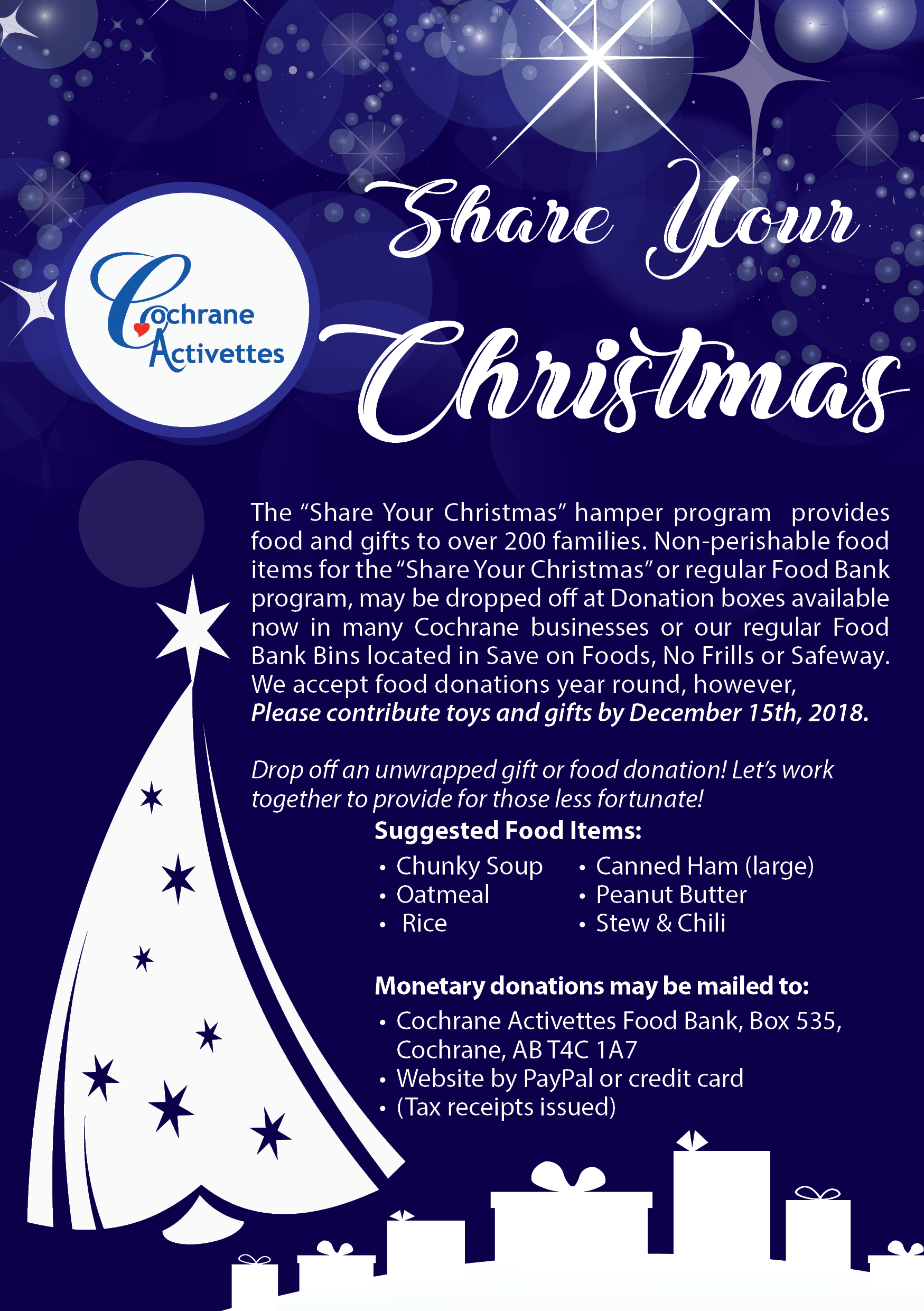 Share Your Christmas Donations – Cochrane Activettes